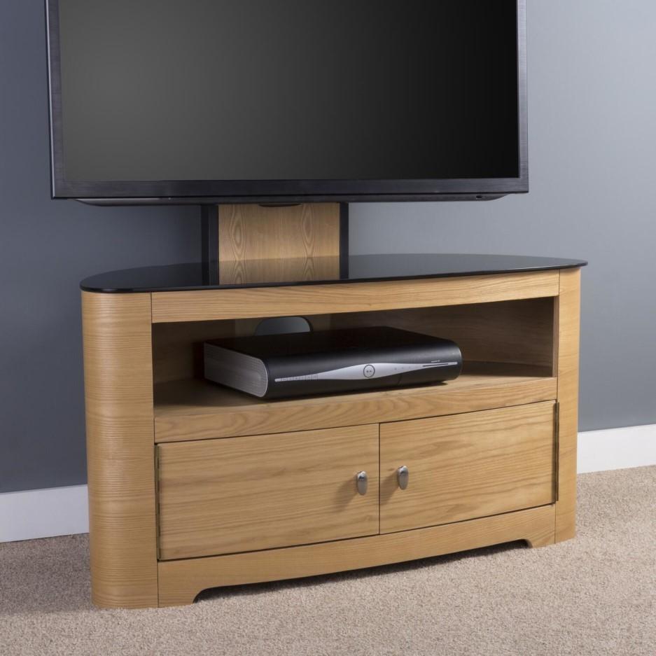 Blenheim Affinity Curved Combi Tv Stand 1000 Oak Black Glass On Servers Direct