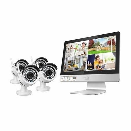 "HomeGuard 4CH Wireless Security System with 12"" HD Monitor & 4x 960P Day/Night Cameras 1TB"